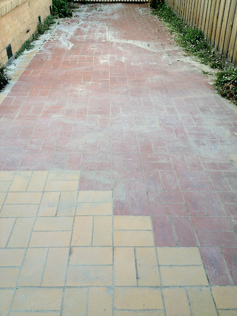 brick path has been cleared of gravel sand