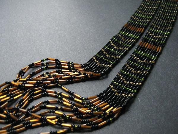 Herringbone Necklace with Bugles