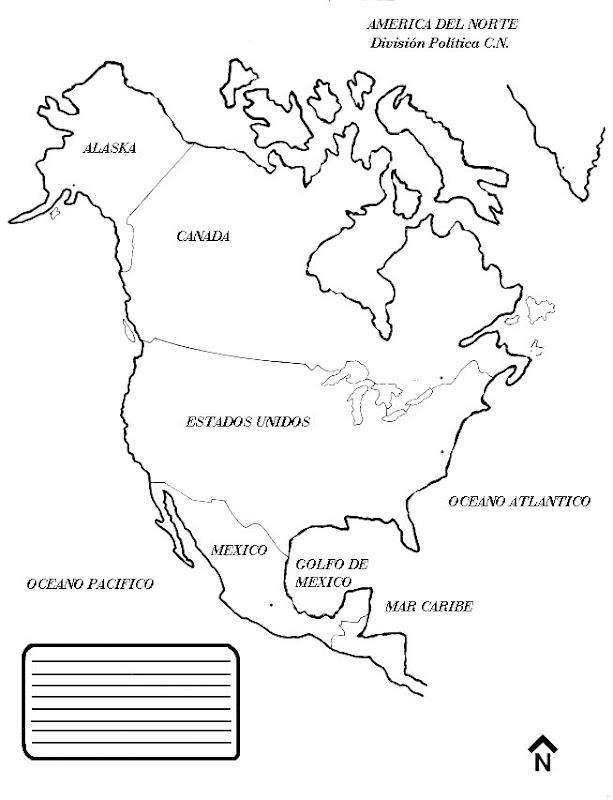 Pinto Dibujos: Mapa de América del Norte para colorear