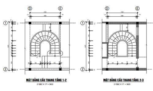 Mặt bằng cầu thang tầng 1-2 và cầu thang 2-3