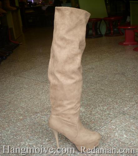 Boots cao cổ quá gối, da lộn, gót nhọn - MS 180