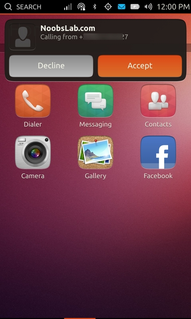 Ubuntu Touch incoming call