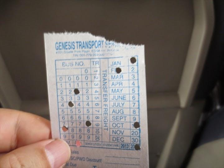 マニラから乗ったジェネシスバスのチケット