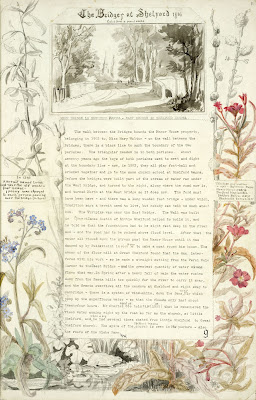 A Record of Shelford Parva by Fanny Wale P9 fo. 11, page 9: A black and white watercolour of the bridges at Shelford copied from a pencil sketch of 1816; below it is a description of the boundary between Great and Little Shelford. Surrounding the writing is a black and white and coloured watercolour of wild flowers and animals. [fo.9]