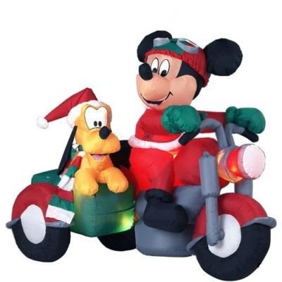 RARE - Disney - 6 Ft. - Gemmy Christmas Airblown Inflatable - Mickey Mouse and Pluto on Motorcycle