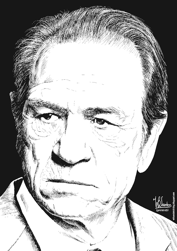 Ink drawing of Tommy Lee Jones, using 2.5.