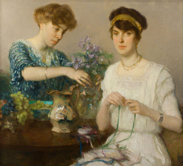 Francis Luis Mora - The Artist's Wife and Her Sister Arranging Flowers, 1911