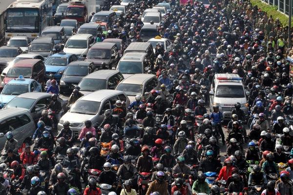 Macet Sepeda Motor di Jakarta