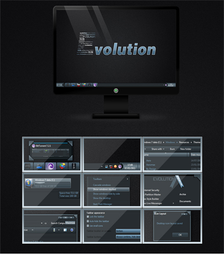 Evolution Theme For Windows,windows 7,dark