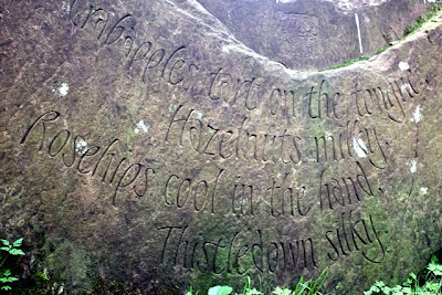 Poem in a stone on the Kirkby Stephen Poetry Path in Cumbria England
