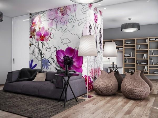 Trang trí tường nhà với họa tiết hoa rực rỡ