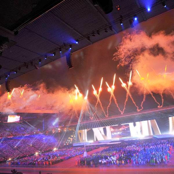 Fireworks light up the sky during the opening ceremony of the 2014 Commonwealth Games at Celtic Park in Glasgow on July 23, 2014.