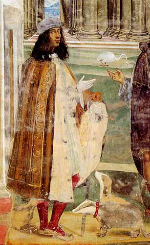 Il Sodoma - Self-portrait with badgers in a fresco at Monte Olivetto