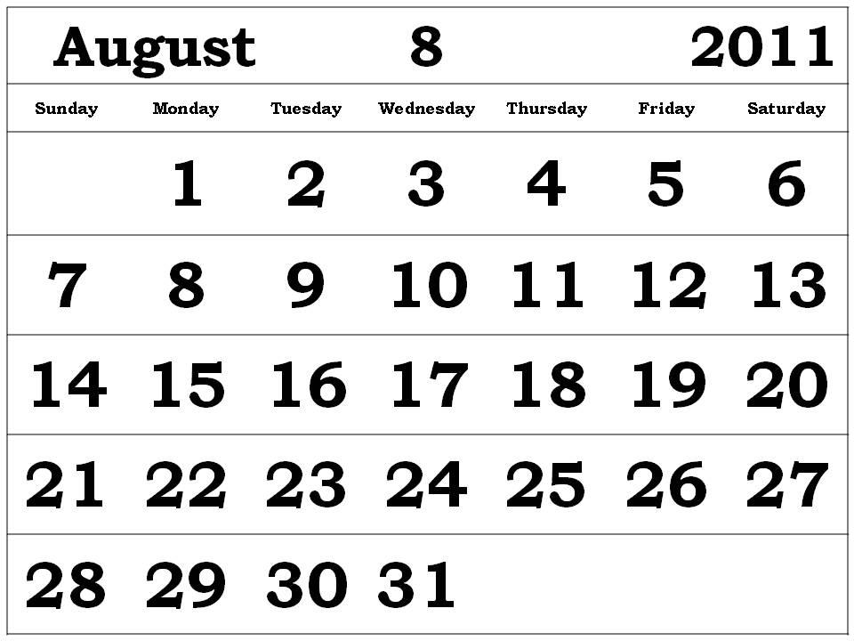 printable august 2011 calendar. Free printable August 2011