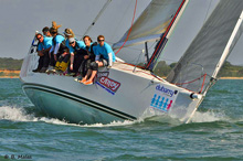 J109 cruiser racer sailboat- women's team sailing Solent, England