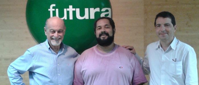 Debate sobre Educomunicação no Canal Futura: Ismar de Oliveira Soares (ABPEducom), Marciel Consani (ECA-USP), Anderson Lima (TV Online Pedal)