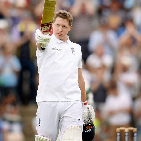 England's Gary Ballance celebrates reaching his century during the third cricket test match against India at the Rose Bowl cricket ground, Southampton, England July 27, 2014.