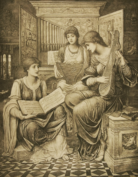John Melhuish Strudwick - The Gentle Music of a Bygone Day