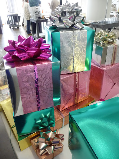 Fun and festive foil-wrapped gifts from the Sparkle & Shine story. You'll find our sources for these great gift-wrap materials on page.