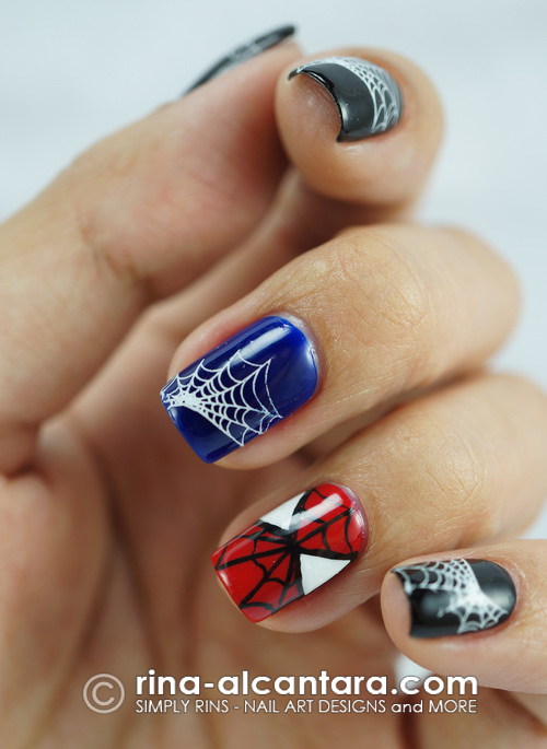 Spiderman Nail Art Design