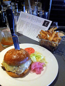 Imperial Flat-top burger on Rye Brioche with lettuce, tomato, caramelized and pickled onions, sharp cheddar cheese, secret sauce, Fry-Basket of Fires with secret sauce, Imperial PDX, Vitaly Paley