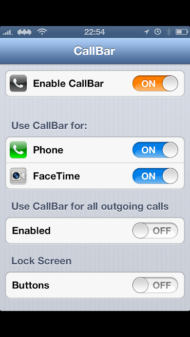 Screenshot of CallBar menu