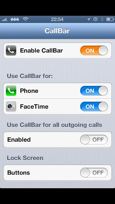 Screenshot of CallBar menu