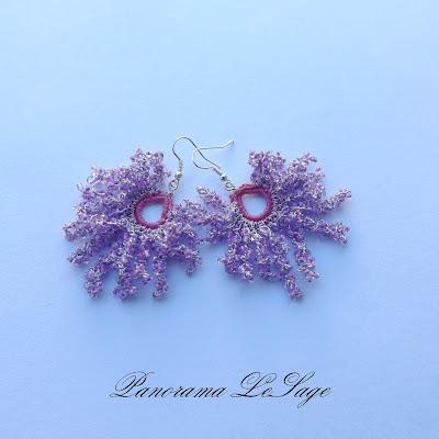 kolczyki rosa długie wiszące koralikowe kolczyki koralikowa biżuteria szydełkowa rękodzięło Panorama LeSage Rosa Kolorowa neony sorbety klipsy