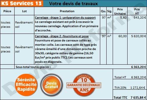 ks services 13: prix pose carrelage - devis travaux gratuit - Devis Carrelage Salle De Bain