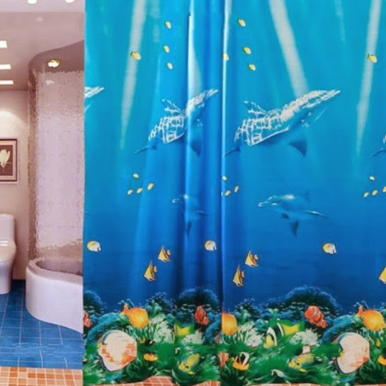 beach themed shower curtains for relaxing scene in bathroom