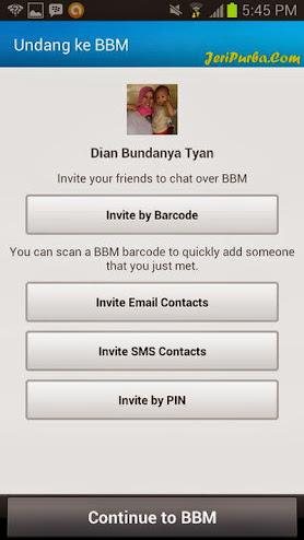 Halaman Invite Pada BBM For Android
