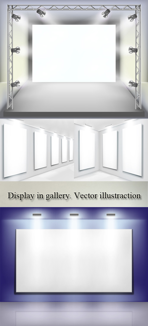 Stock: Display in gallery. Vector illustraction