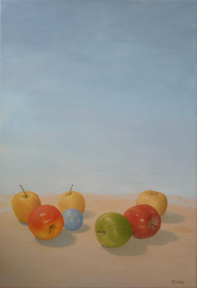 pintura en oleo manzanas con universo II, de angeles tovar