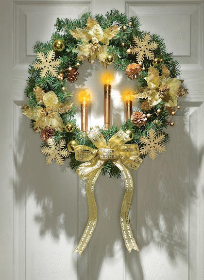Gold Poinsettia Candle Lighted Wreath