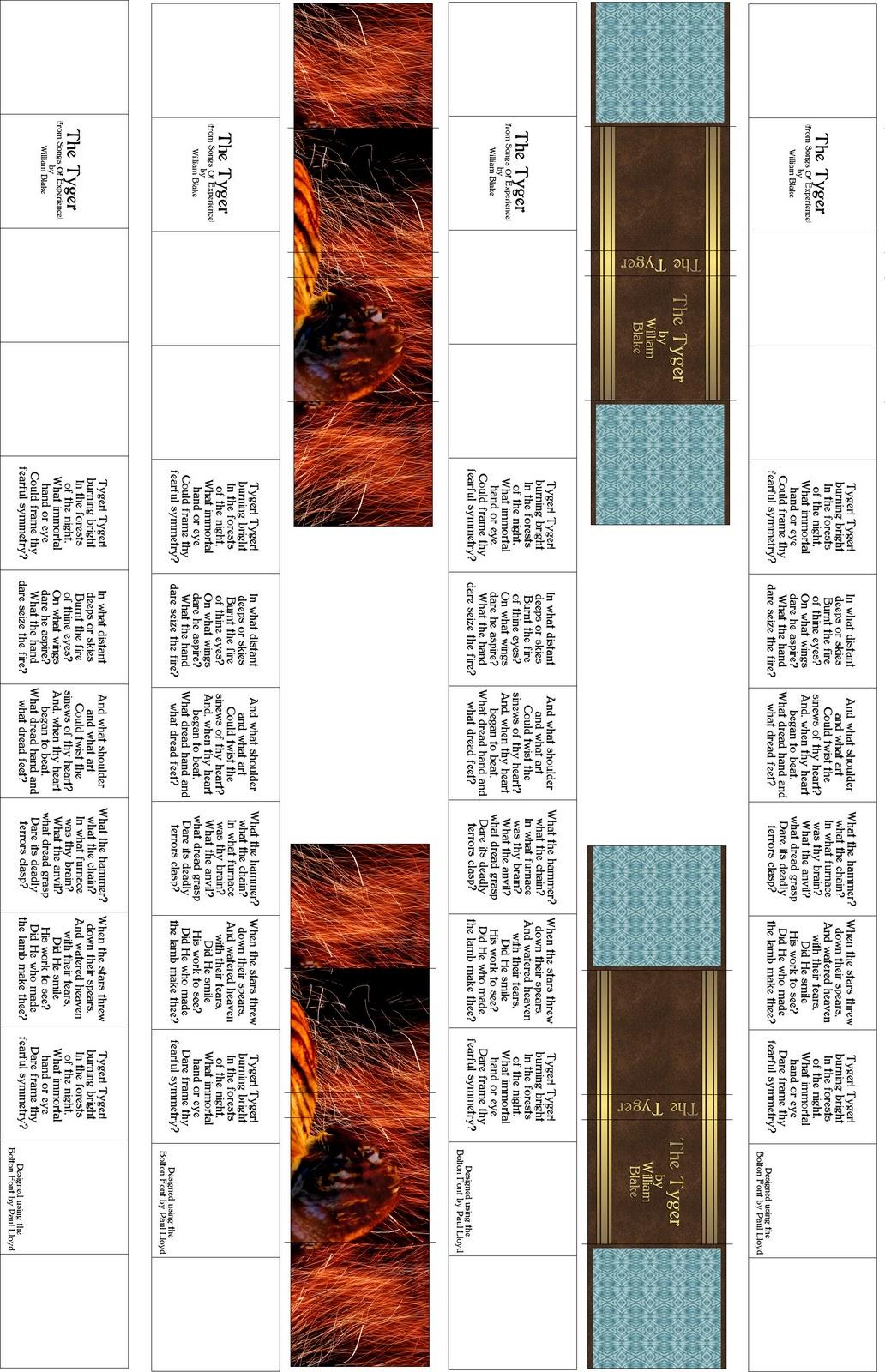 photo regarding Miniature Books Printable referred to as Dont Try to eat the Paste: Tyger printable miniature e book