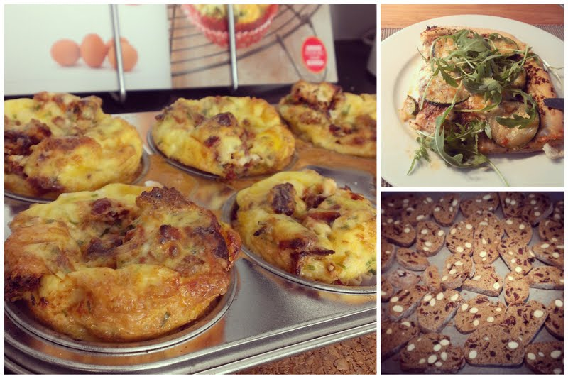 Omeletmuffins; pizza van speltmeel met tapenade en courgette; biscotti van speltmeel