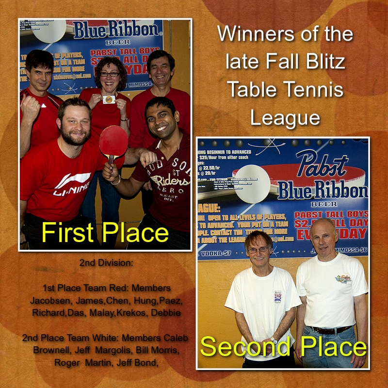 Blitz Ladd Table Tennis Winners