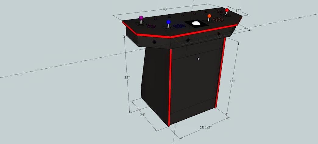 4 player pedestal arcade cabinet plans
