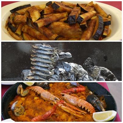 Berenjenas, espeto y Paella de Marisco