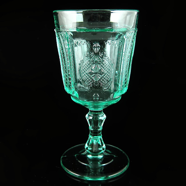 EAPG Apple Green Medallion Goblet