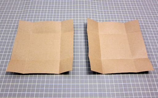 Here we have the top on the left and the bottom on the right—scored & folded.