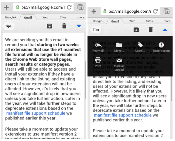 GMail Mobile Design Current