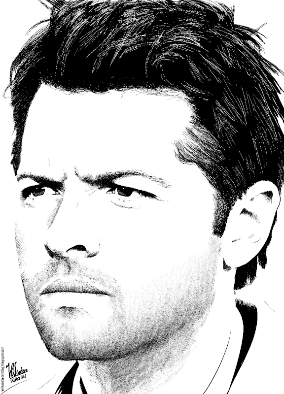 Ink drawing of Misha Collins, using Krita 2.5.
