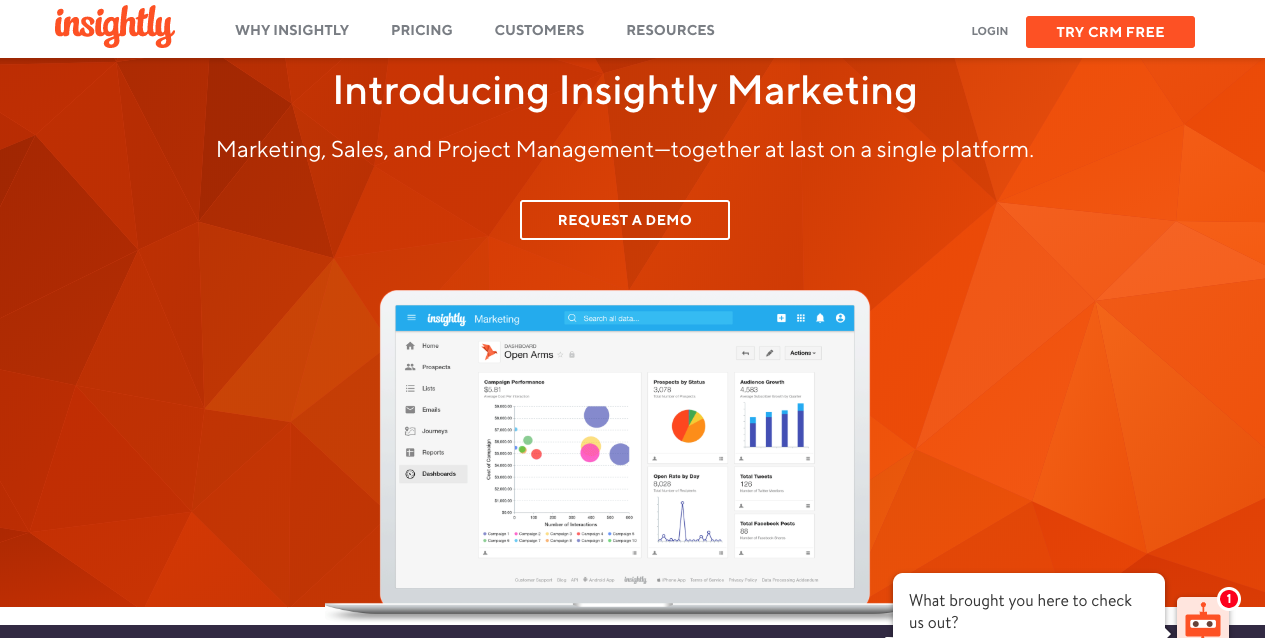 Insightly Marketing landing page