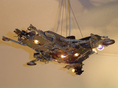 Spaceship Lamp made with recycled computer parts by Alex Andromeda