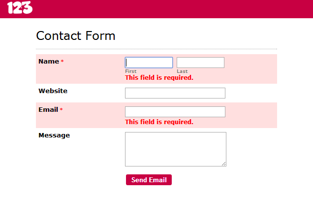 remove the error message from online form