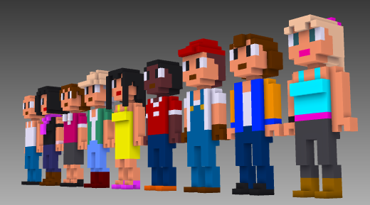MagicaVoxel voxel people front