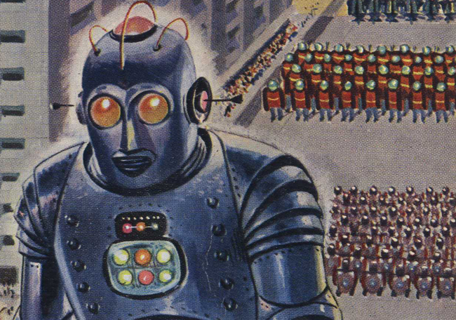 Couverture de livre de science fiction : La guerre des robots - Pour vous Madame, pour vous Monsieur, des publicités, illustrations et rédactionnels choisis avec amour dans des publications des années 50, 60 et 70. Popcards Factory vous offre des divertissements de qualité. Vous pouvez également nous retrouver sur www.popcards.fr et www.filmfix.fr   - For you Madame, for you Sir, advertising, illustrations and editorials lovingly selected in publications from the fourties, the sixties and the seventies. Popcards Factory offers quality entertainment. You may also find us on www.popcards.fr and www.filmfix.fr
