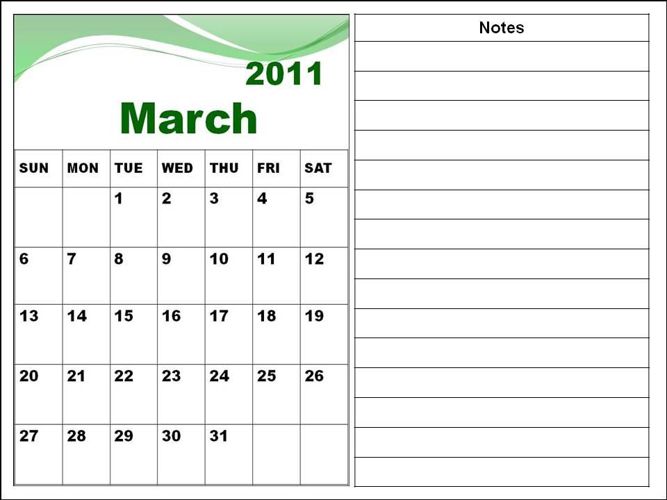 march calendar 2011. Blank Calendar 2011 March