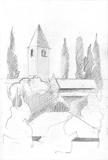 San Pietro in Mavino, Sirmione, crayon, pencil